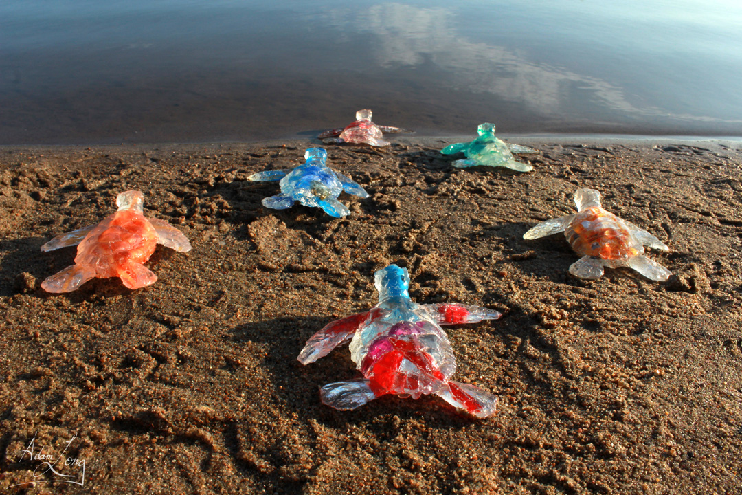 Baby Sea Turtles From The Feral Plastic Series By Adam Long Scul