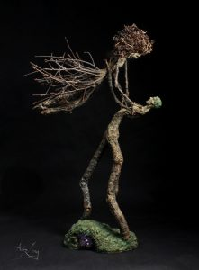 Adam Long; art; sculpture; forest figure; tree; wood; nature; natural; nature art; natural art; environmental art; environmental sculpture; nature sculpture; natural sculpture; stick art; stick sculpture; male; female; couple; beautiful; dance; dress; stick; branch; oak; white oak; pin oak; amethyst; crystal; lift; grapevine; tendril